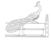 中国古典图案-站在栏杆上的美丽孔雀
