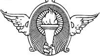 带翅膀造型的火炬徽章图案