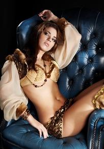 金色性感美女模特人物高清摄影图片