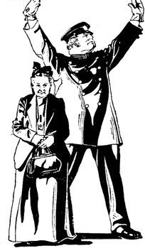 提着手包的老妇人和双手举起的警察