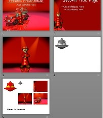 红色3D消防员卡通人物PPT模板