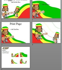 黄绿红色3D虚拟卡通摇滚人物PPT模板