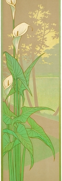 大树背景百合花叶子图案素材