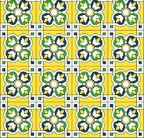 黄色背景上的重复花朵状图案