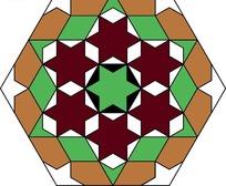 手绘六角星形彩色玻璃图案