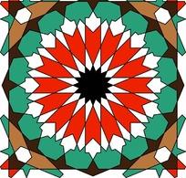 五彩几何图形组成的对称图案图片