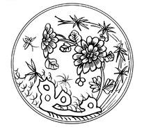 zhongguoyijisheqingpian_中国古典图案-带纹理的花朵和叶子以及湖石