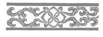 中心四瓣花朵两边对称卷叶纹构成的横图图案