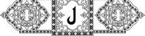 阿拉伯字母卷草纹花角方形尖拱框构成的黑白横图