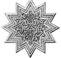 对称黑白十二角型欧洲古典花纹图案