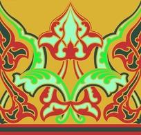 红黄绿色彩的阿拉伯式卷草花纹图案