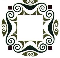 简单卷曲花纹构成的方孔铜钱图案