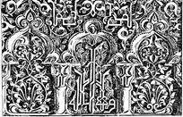 藤蔓缠枝花纹锯齿纹卷草花纹柱纹构成的雕纹图案