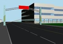 公路上的LED电子指示牌架3D模型