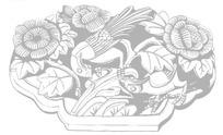 中国古典吉祥图案-两只白头翁和牡丹花枝图案