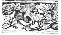 中国吉祥图案-牡丹枝叶和俯身凤凰构成的图案