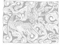 中国吉祥图案-云中背向飞的两只鹤图案