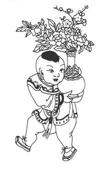 抱着一盆盛开的梅花的小男孩