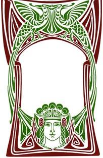 长尾双飞鸟纹卷曲线条纹人物头像构成的图案