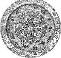 缠枝花纹卷叶纹波曲连珠纹构成的圆形图