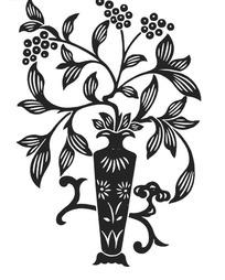 插在花瓶里枝头开满果子的带叶植物矢量图
