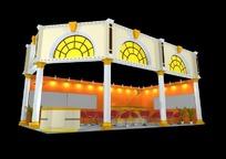 橙色欧式展厅3d模型设计