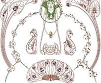 褐色绿色弧形枝叶花朵和正面人物头像构成的图案