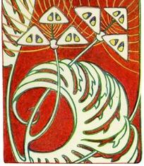 红色底长齿卷叶三角花朵黄色弧线构成的图案