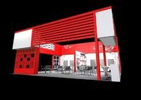 红色化妆品展厅max模型