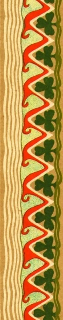 黄色水纹红色三角折形纹黑色梅花纹构成的竖图