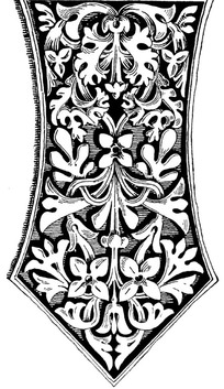 弧线腰三角头卷草花叶纹构成的构件图案