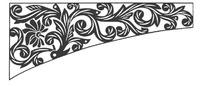 卷曲枝叶花朵构成的弧线边角图案