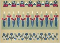 土色底蓝方片花三瓣圆花玉米棒形花三组花边图