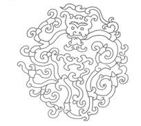 圆形龙纹图案线描图