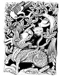 中国古典吉祥图案- 麒麟/桂花/鸟纹构成的图案