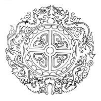 中国古典图案-卷曲纹龙纹和几何形构成的圆形图案