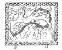 中国古典图案-云纹和抽象龙纹构成的图案