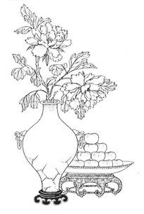 中国吉祥图案-插牡丹花瓶和苹果构成的图案