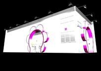 紫色花朵式展厅3d模型设计