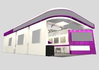 紫色浪漫展厅3d模型设计