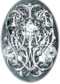 缠枝卷叶纹和欧洲人面纹构成的椭圆雕纹图案