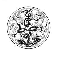 抽象寿字枝条和仙桃图案
