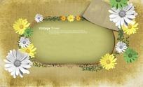 漂亮的彩色花朵花纹边框PSD