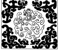 四角云龙围绕中心云龙的五龙方图图案