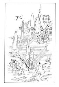 中国古典绘画-人物和栏杆以及山峦