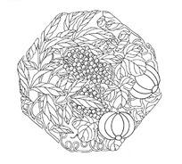 中国古典图案-果子和带叶脉的叶子构成的六边形图案