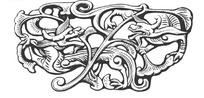 中国古典图案-卷曲纹龙纹构成的斑驳的图案