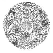 zhongguoyijisheqingpian_中国古典图案-寿字纹和花朵以及中国结构成的圆形图案