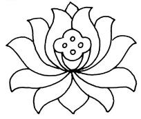 传统莲花图案线稿简笔画