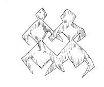 简单线条画-两个相对弓腿站立的人